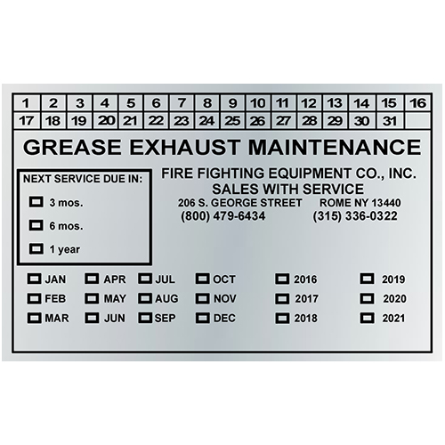 Grease Exhaust Maintenance - Silver