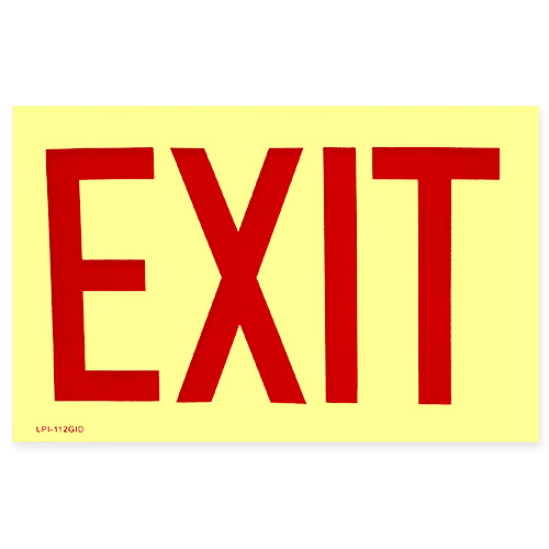 EXIT Glow In The Dark Vinyl Self Adhesive Sign