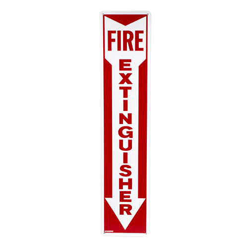 Fire Extinguisher Arrow Down Aluminum Sign