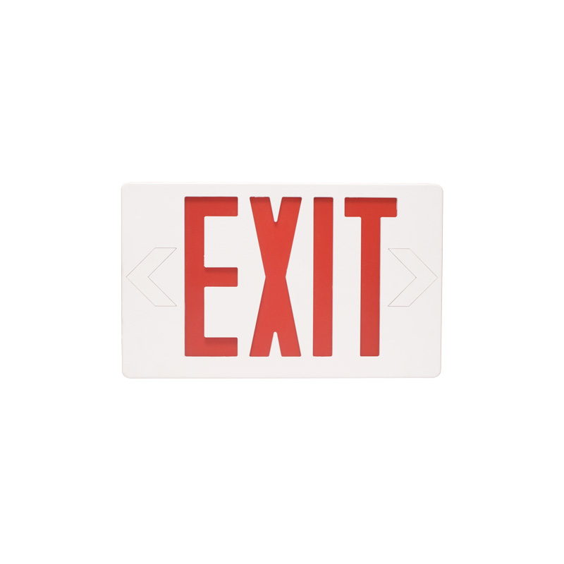 RED LED Exit Sign with Battery Backup Universal Mount White Housing