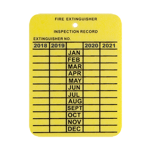 image regarding Printable Fire Extinguisher Inspection Tags called Plastic 4 Yr Inspection Tag - LPI Hearth