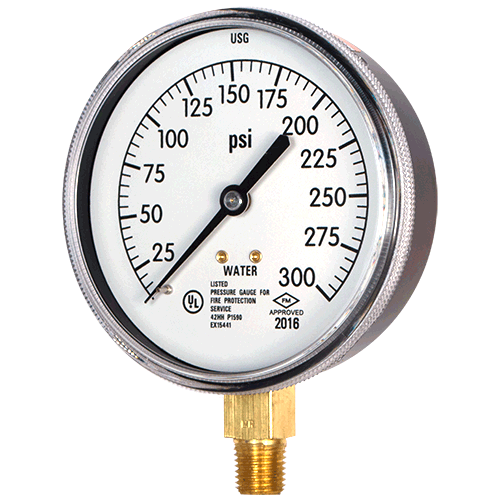 UL Listed Sprinkler System Gauge - Water