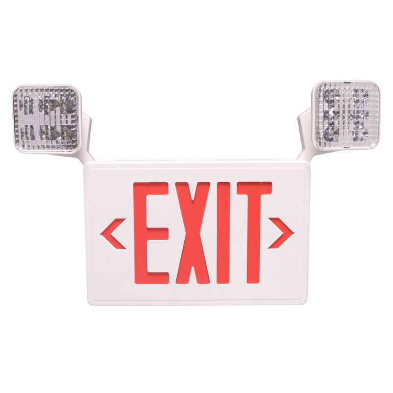 RED LED Exit Sign & Emergency Light Combination with Battery Backup Universal Mount White Housing